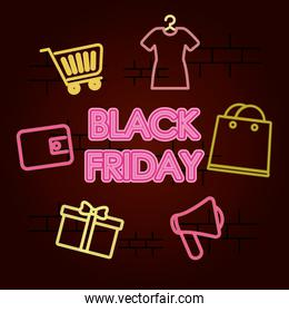 black friday design with shopping elements around, colorful neon design
