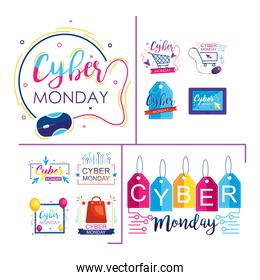 icon set of cyber monday design over white background, colorful style