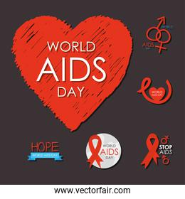 world aids day and ribbons icon set design, flat style