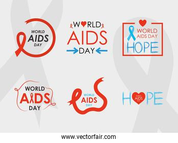world aids day icon set, colorful and flat style