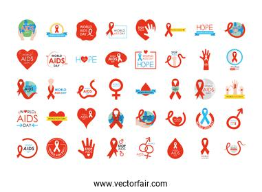 icon set of world aids day designs, flat style
