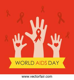 world aids day design with hands up with ribbon and hearts, flat style