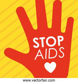 stop aids design with hand with heart icon, flat style