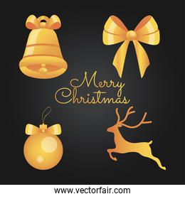 merry christmas design with golden christmas ball and related icons
