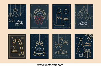 icon set of Merry christmas minimalist cards, colorful design
