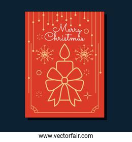 christmas minimalist red card with candle with decorative bow, colorful design