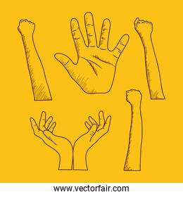 icon set of hands over yellow background, sketching style