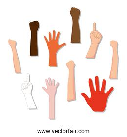 icon set of human hands, colorful design