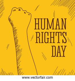 human rights day sketch design with protesting hand up icon