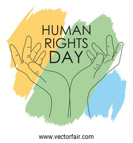 colorful human rights day design with open hands icon