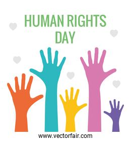 human rights design with colorful hands up