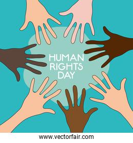 human rights day design with open hands around