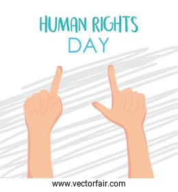 human rights design with hands pointing up