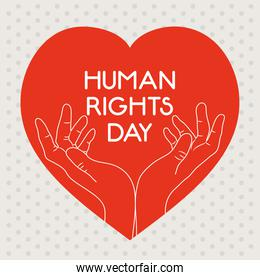 human rights design with heart with hands