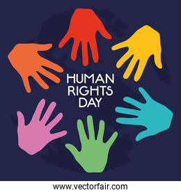 human rights day design with colorful hands around