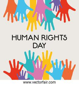 human rights design with colorful hands over white background