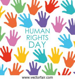 colorful hands of human rights design