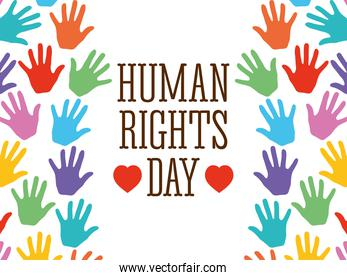 human rights day design with colorful hands frame