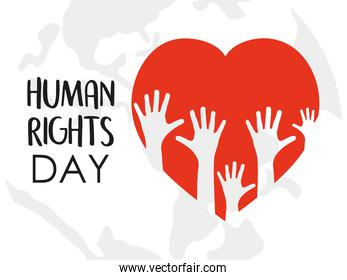 human rights design with red heart and hands up