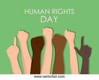 human rights day design with protesting hands up, colorful design