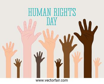 human rights day design with hands up