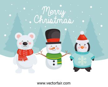 merry christmas design with cute snowman, bear and penguin