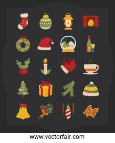 icon set of merry christmas, colorful design