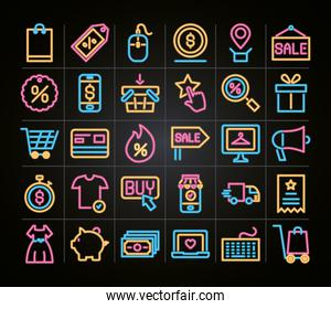 cyber monday icons set, neon style