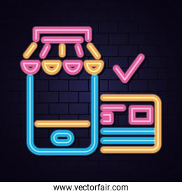 cyber monday design and credit card with check mark, neon style
