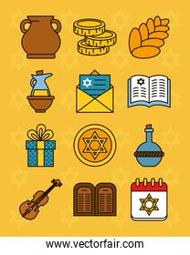 hanukkah icon set, line and fill style
