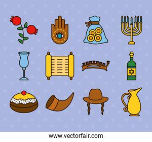 hanukkah icon set design, line and fill style