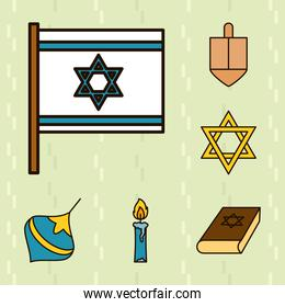 star of david and hanukkah icon set, line and fill style