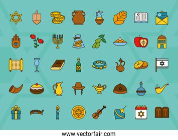 icon set of hanukkah, line and fill style