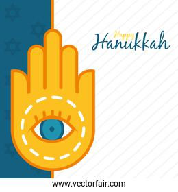hanukkah design with hamsa hand icon, line and fill style