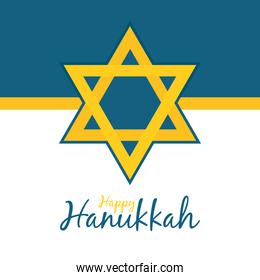 happy hanukkah design with star of david icon, line and fill style