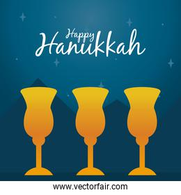 happy hanukkah design with yellow goblets, line and fill style