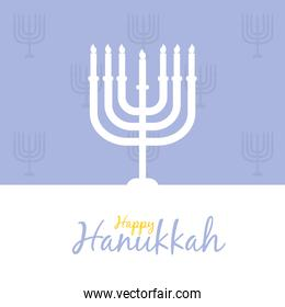 happy hannukkah with silhouette of menorah icon, line and fill style