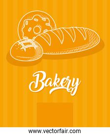 bakery design with breads, hand draw style