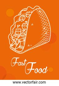 fast food concept, mexican taco icon, hand draw style