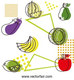 pattern of fruits and vegetables with abstract geometric shapes