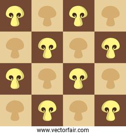 squared pattern with mushrooms, colorful design