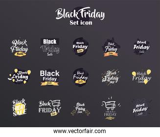 black friday sale flat style set of icons vector design