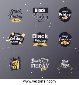 black friday sale flat style symbol set vector design