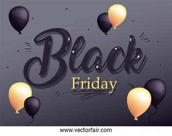 black friday sale with balloons flat style icon vector design