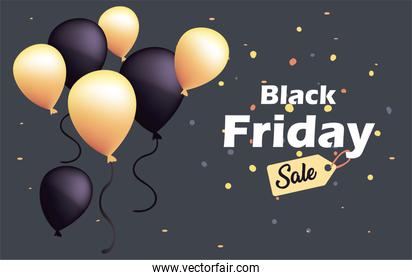 black friday sale with balloons and label flat style icon vector design