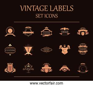 vintage labels elements icons collection vector design