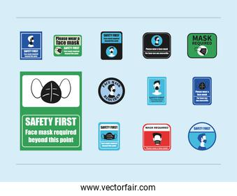 Mask required in road signs set of icons vector design