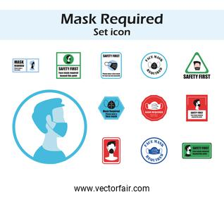 Mask required in road signs icons group vector design