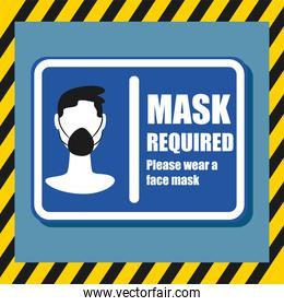 Mask required design man using facemask in road sign vector design