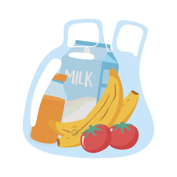 plastic bag with banana tomato juice and milk grocery purchases
